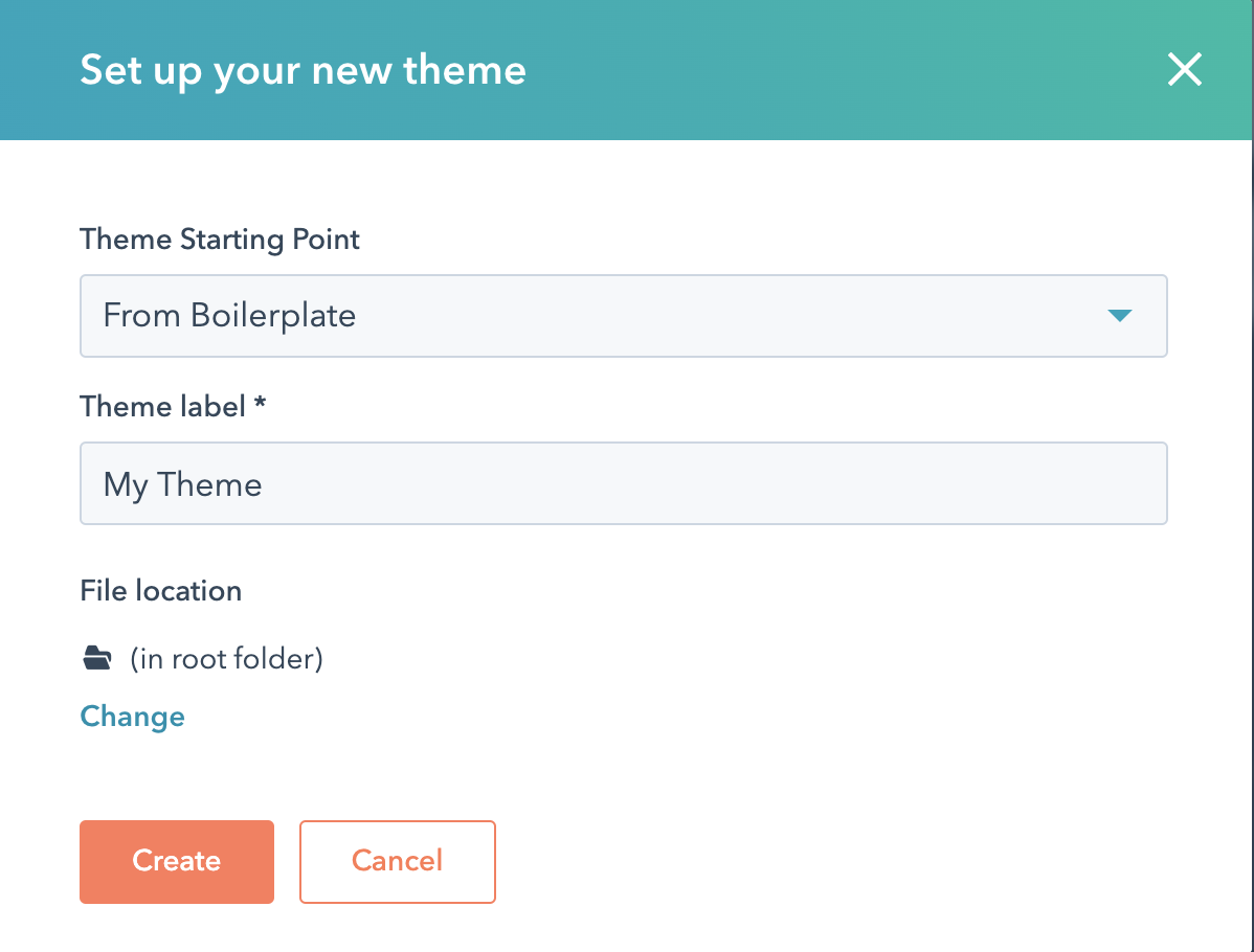 Screenshot of creating a new theme in HubSpot.
