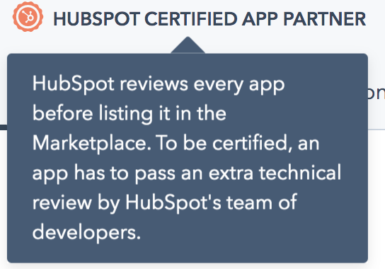 Screenshot of the app certification flag on the listing page.