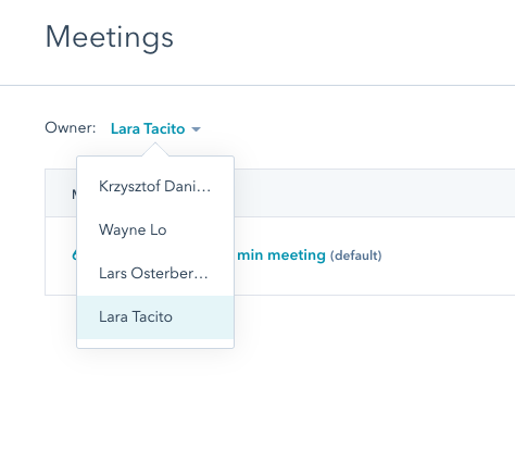 Screenshot of filtering by user in HubSpot to see all the user's meetings links.