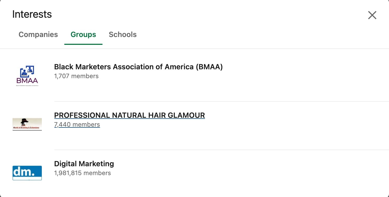 Where to find your groups on LinkedIn via the Interests section.