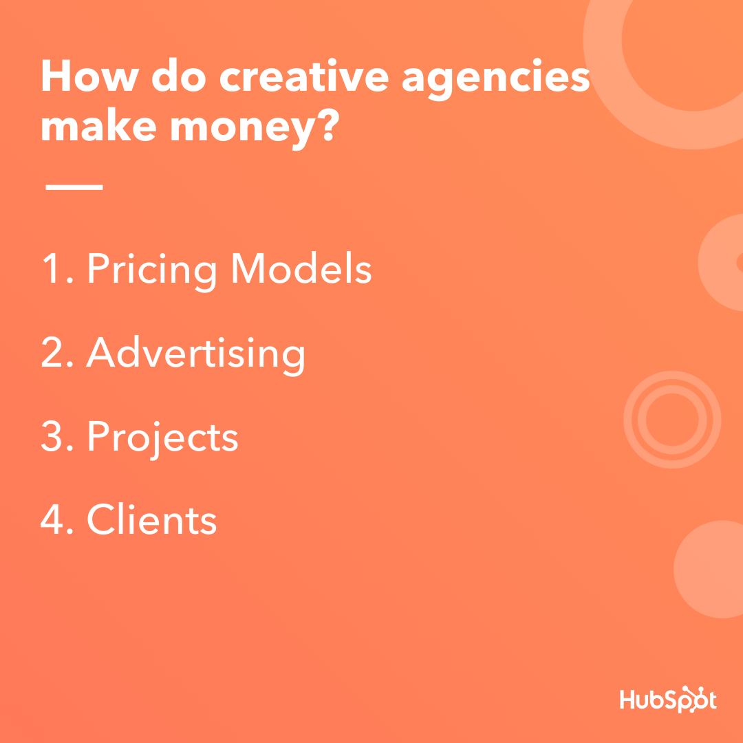 Different ways that creative agencies can generate revenue.