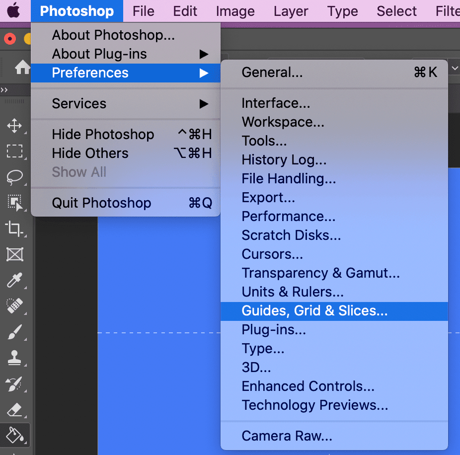 creating rule of thirds grid in photoshop. Go to preferences > guides, grid, and slices.