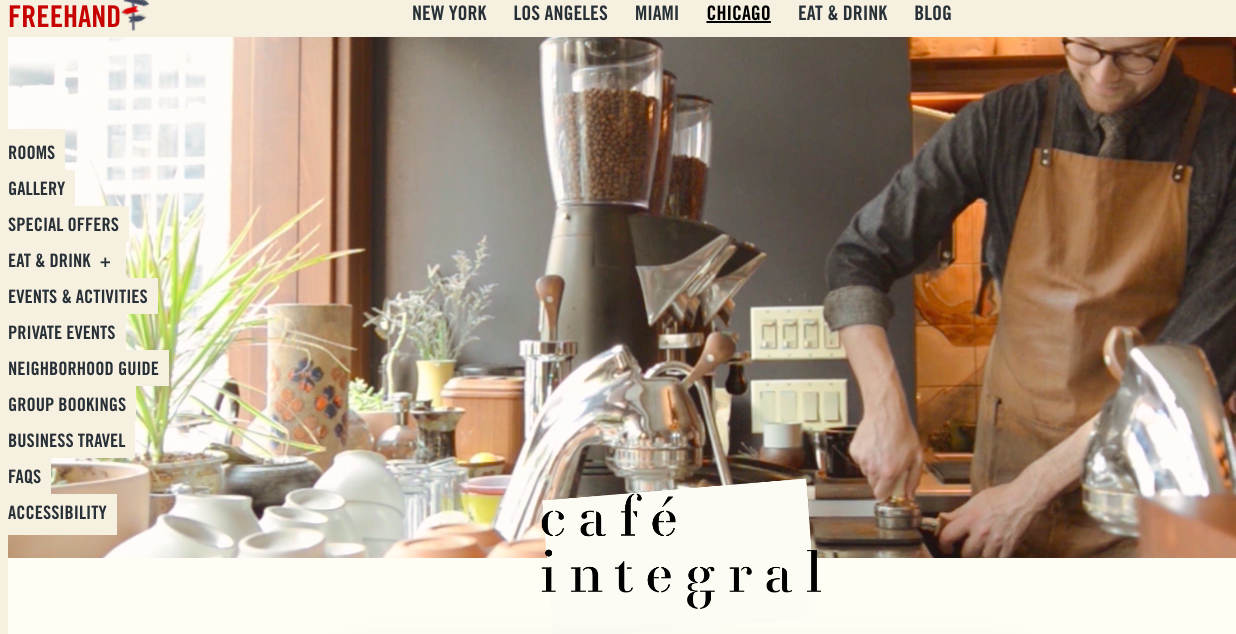 Freehand Hotel's website featuring Cafe Integral.