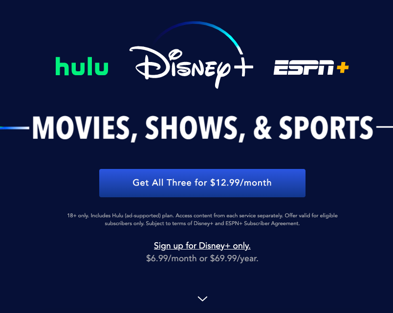 Disney+ bundled services offer.