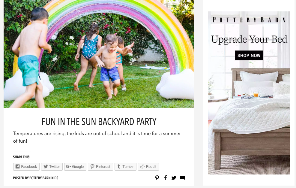 Example of Pottery Barn's blog name.