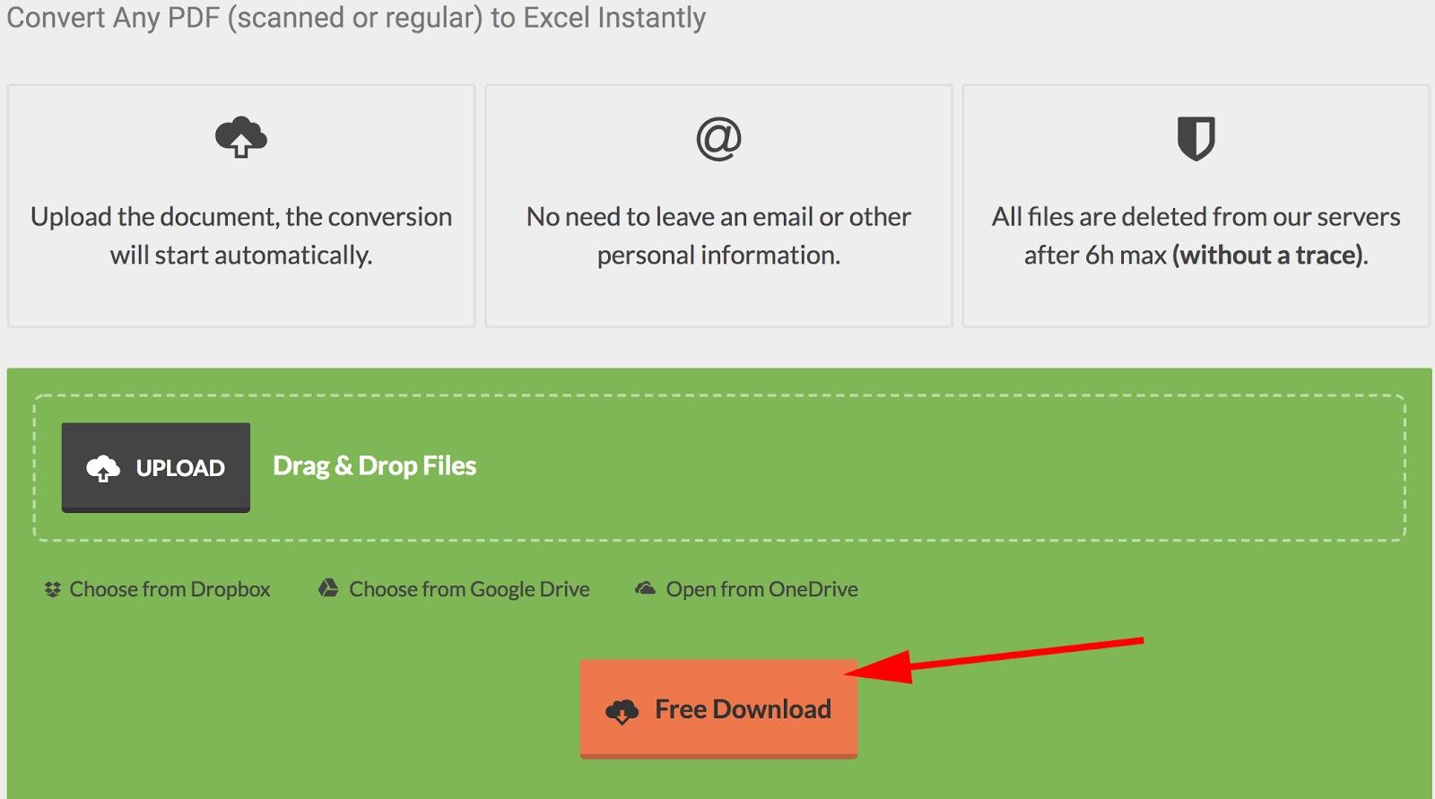 Orange Free Download button on PDFtoExcel.com