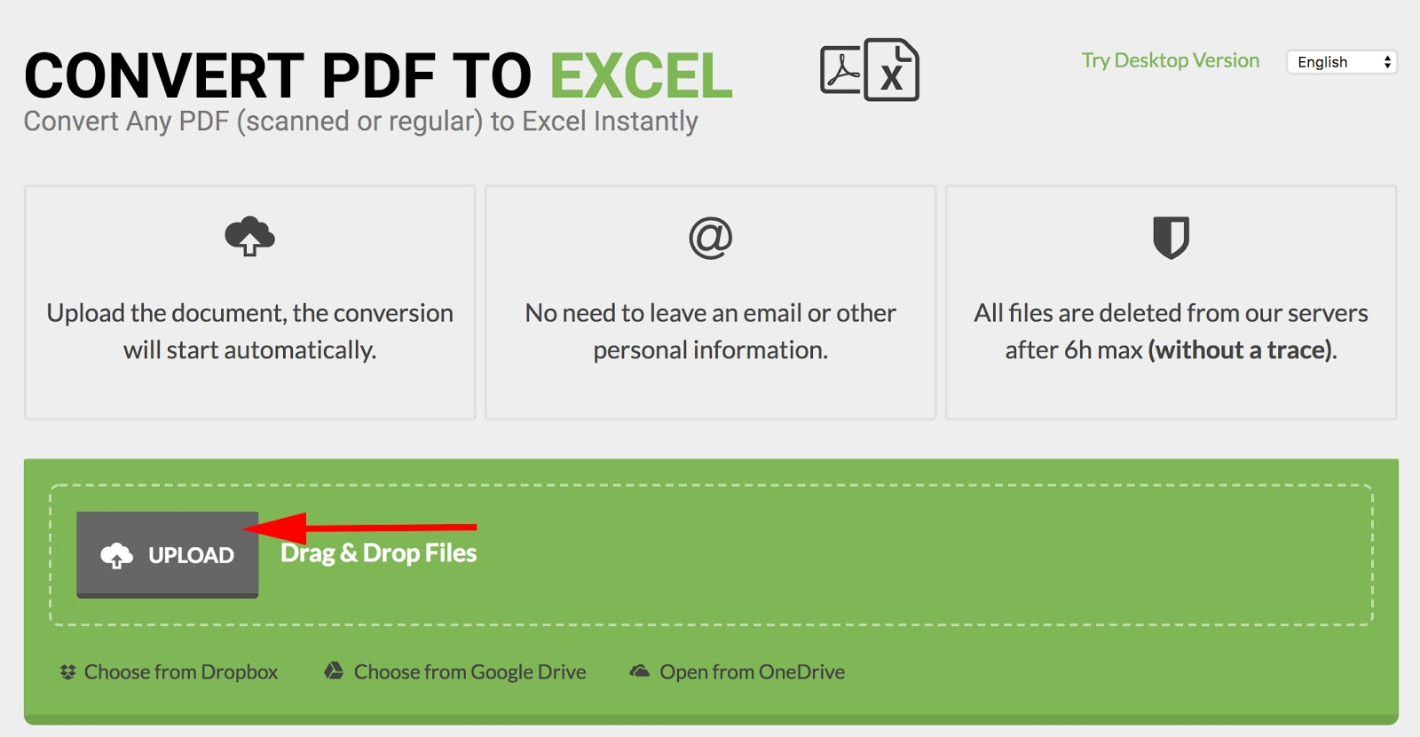 Homepage of PDFtoExcel.com with gray upload button