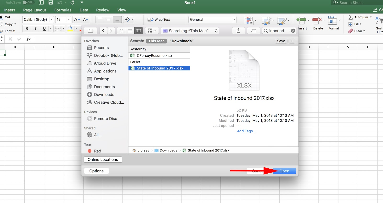 Window to open newly converted PDF in Excel spreadsheet
