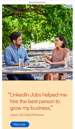 Banner ad for LinkedIn