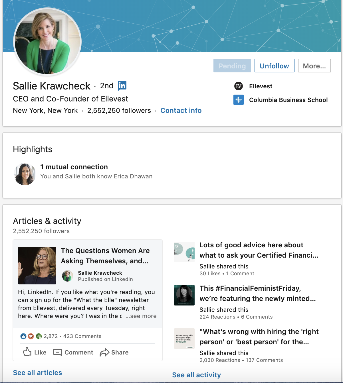 Example of a linked personal profile page