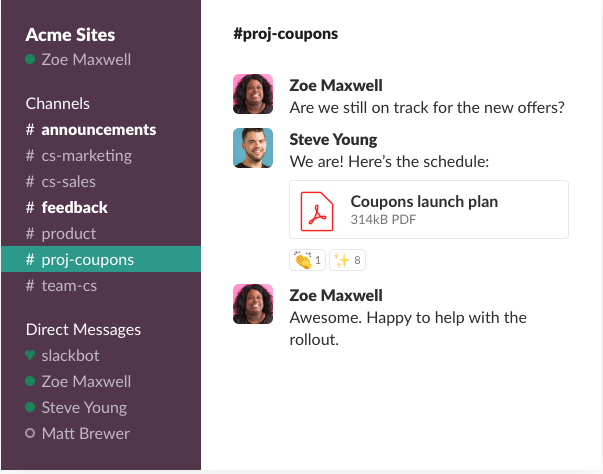 slack conversations dashboard example
