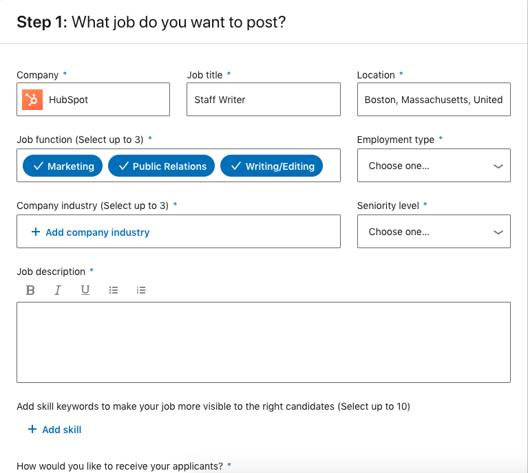 how to make a job post on linkedin demo