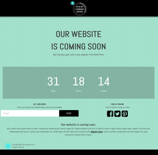 WordPress Maintenance Mode page template included with Coming Soon by Supsystic plugin