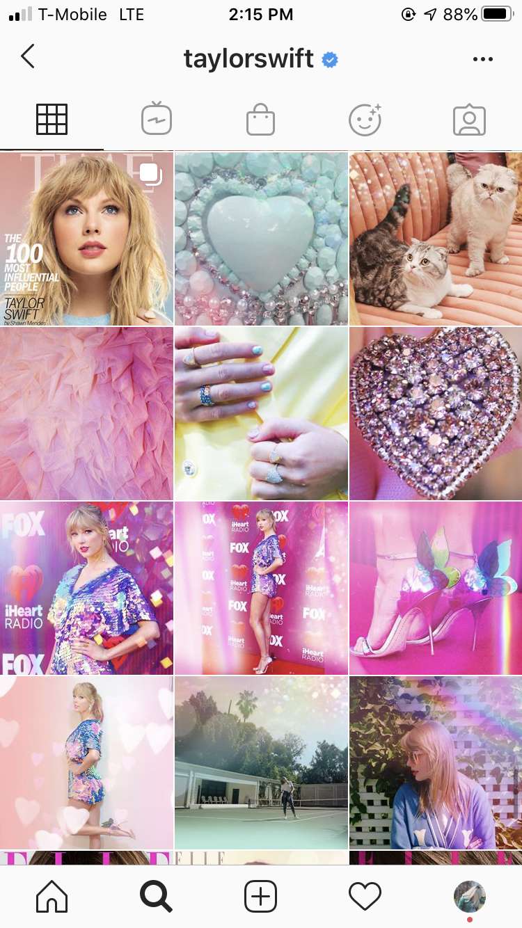"Taylor Swift's ""Lover"" album campaign on Instagram"