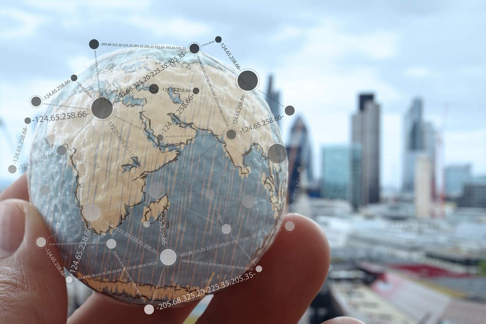 close up of businessman hand showing texture the world with digital social media network diagram concept Elements of this image furnished by NASA london city background.jpeg