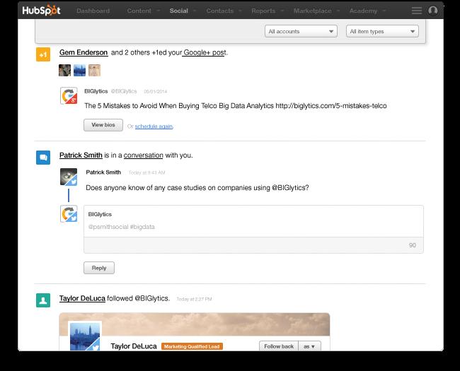 hubspot social inbox dashboard