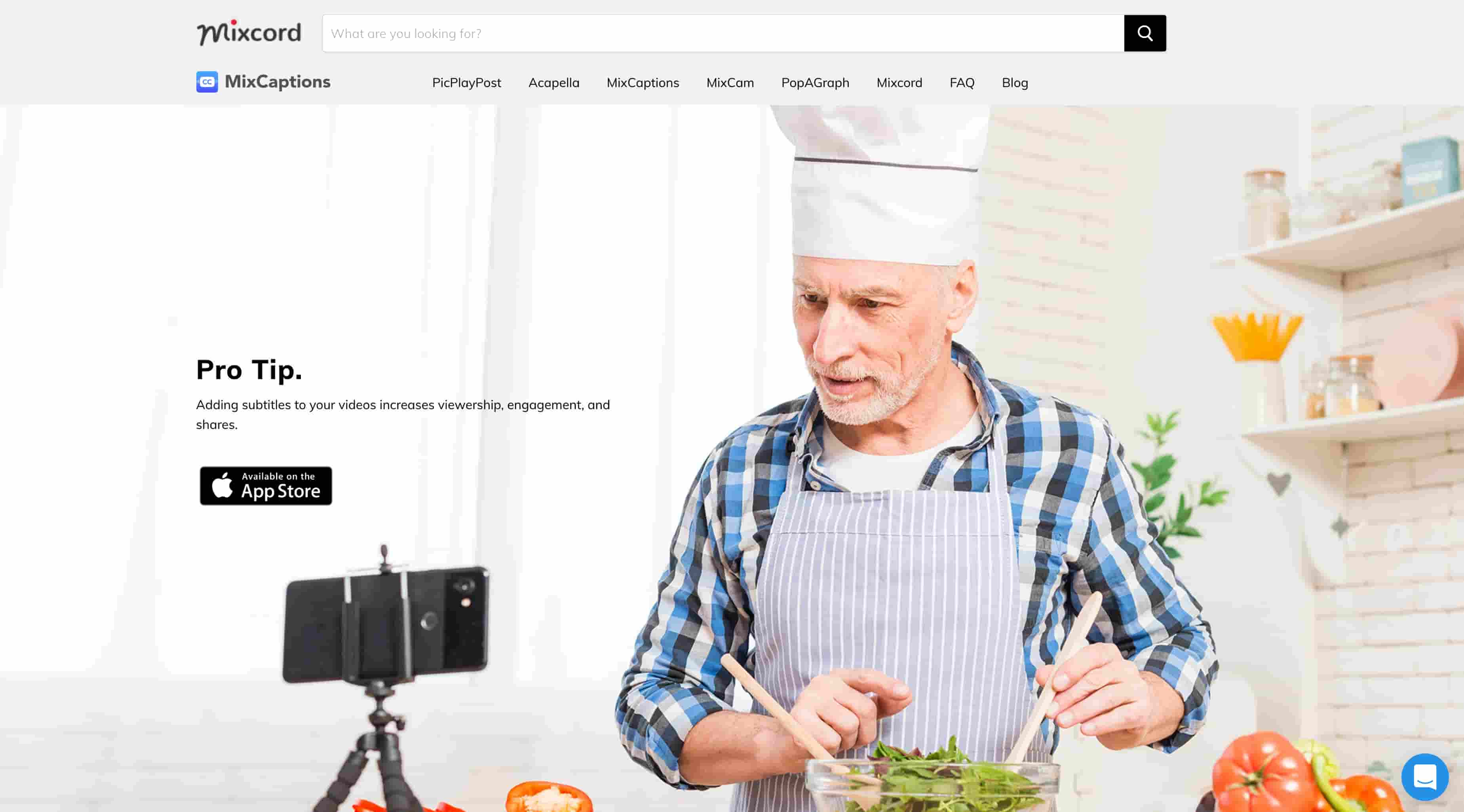 Aplicación MixCaptions: captura de pantalla del sitio web