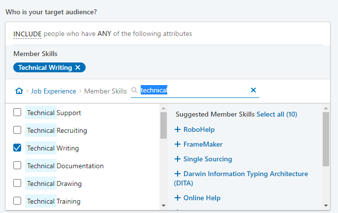 Example of LinkedIn Ads settings