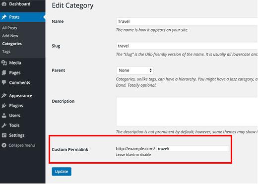Where to create a custom permalink on WordPress