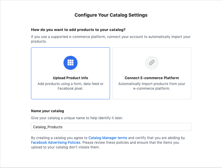 A screenshot of how to configure Shopping catalog settings.