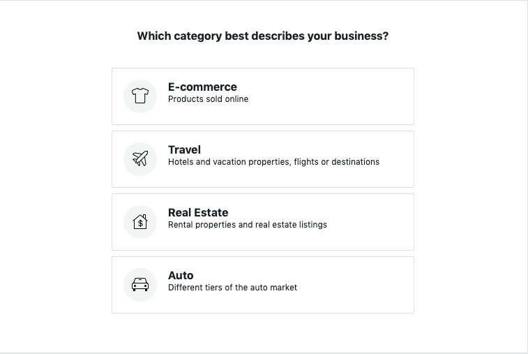 A screenshot depicting the different categories of business available.