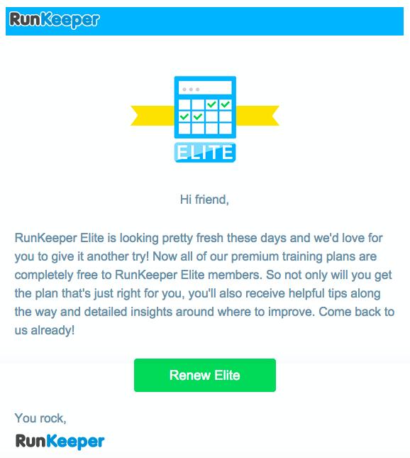 runkeeper elite email that reads