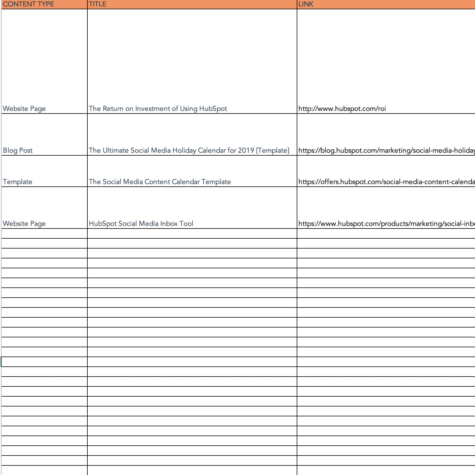 Social media idea repository tab on Social Media Calendar template from HubSpot
