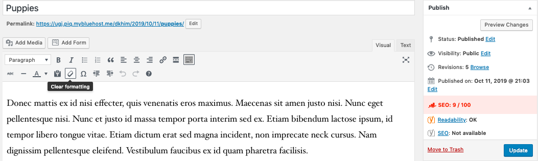 Use the clear formatting button when importing from Google Docs to the classic editor in WordPress