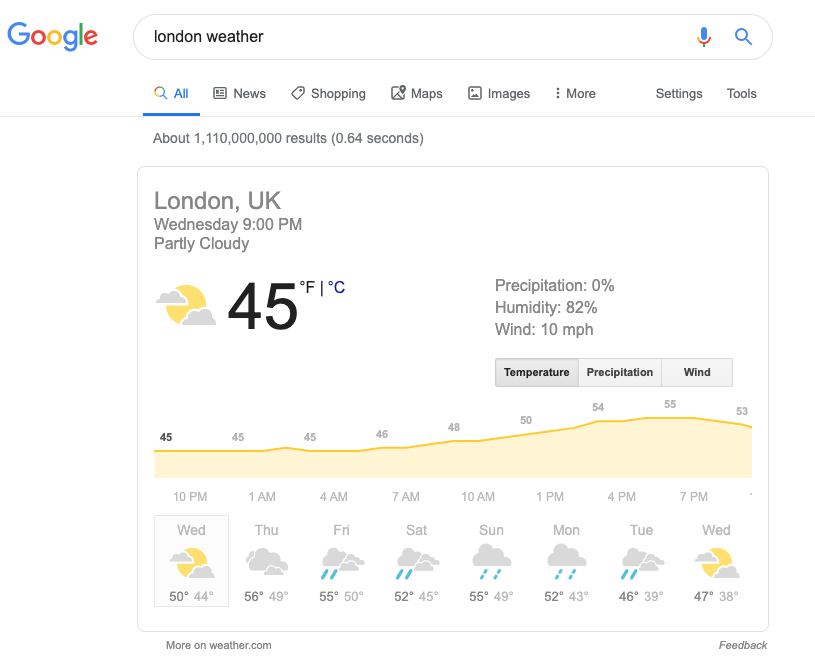 Screenshot of a search result for London weather