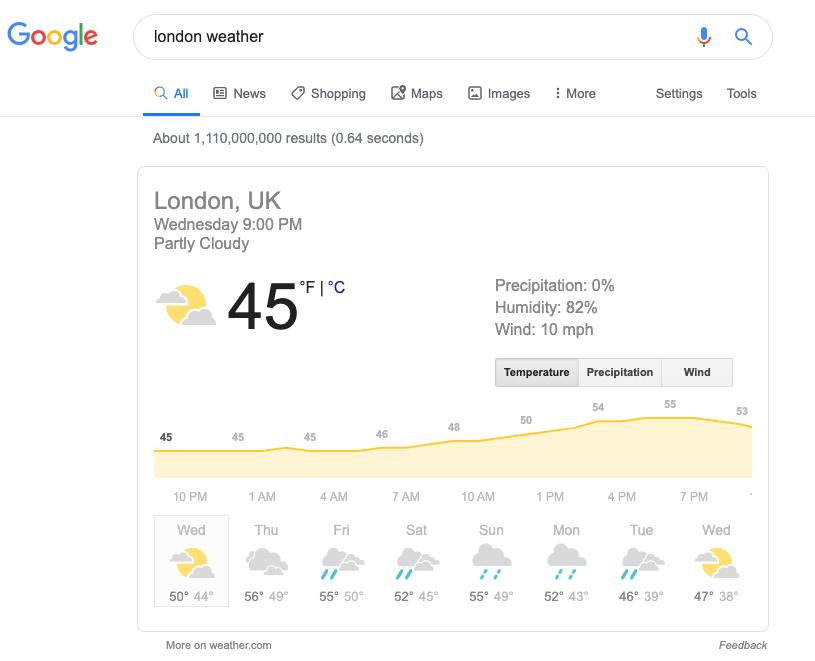 伦敦天气搜索结果的屏幕截图