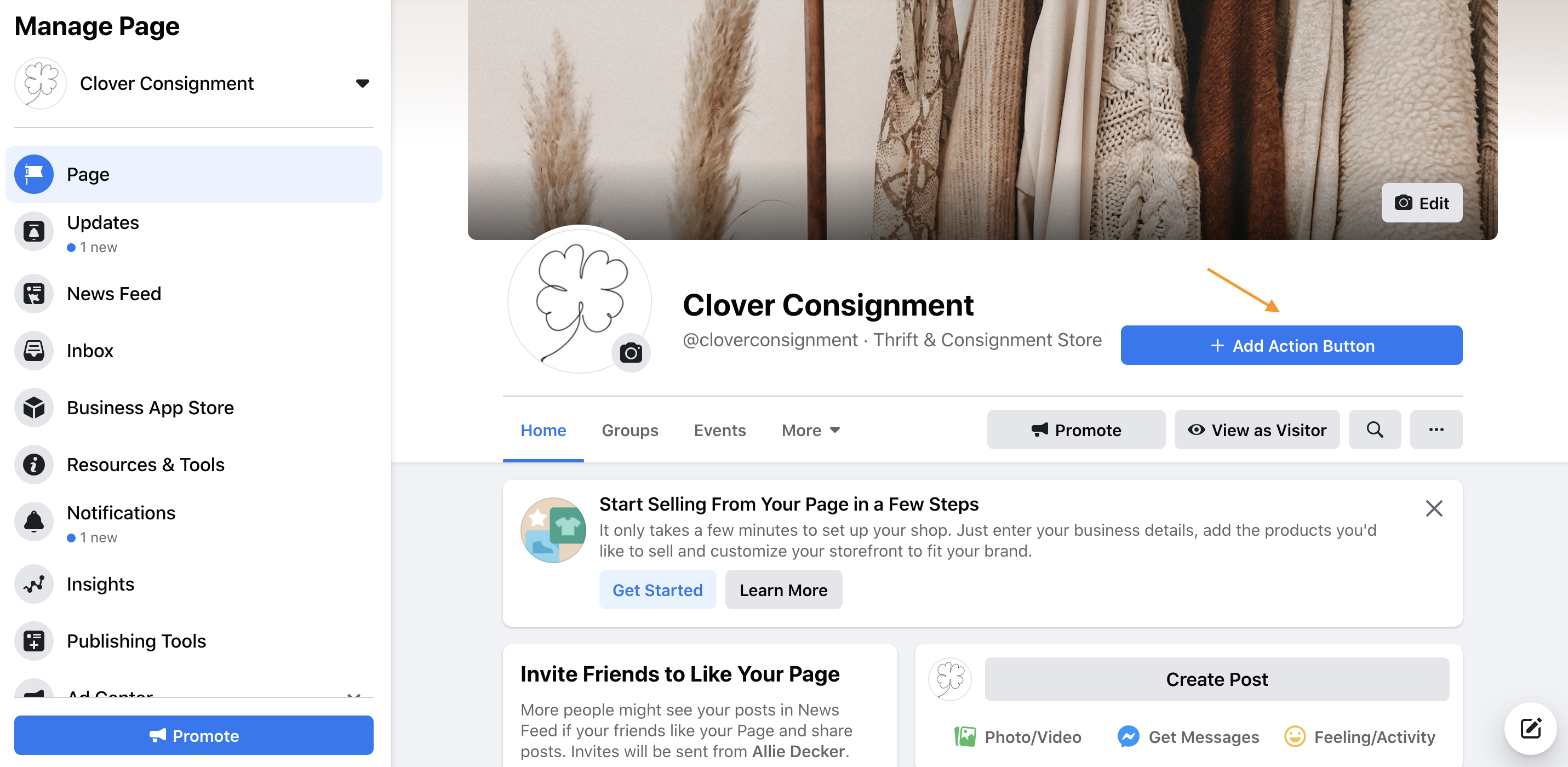 Facebook business page cta