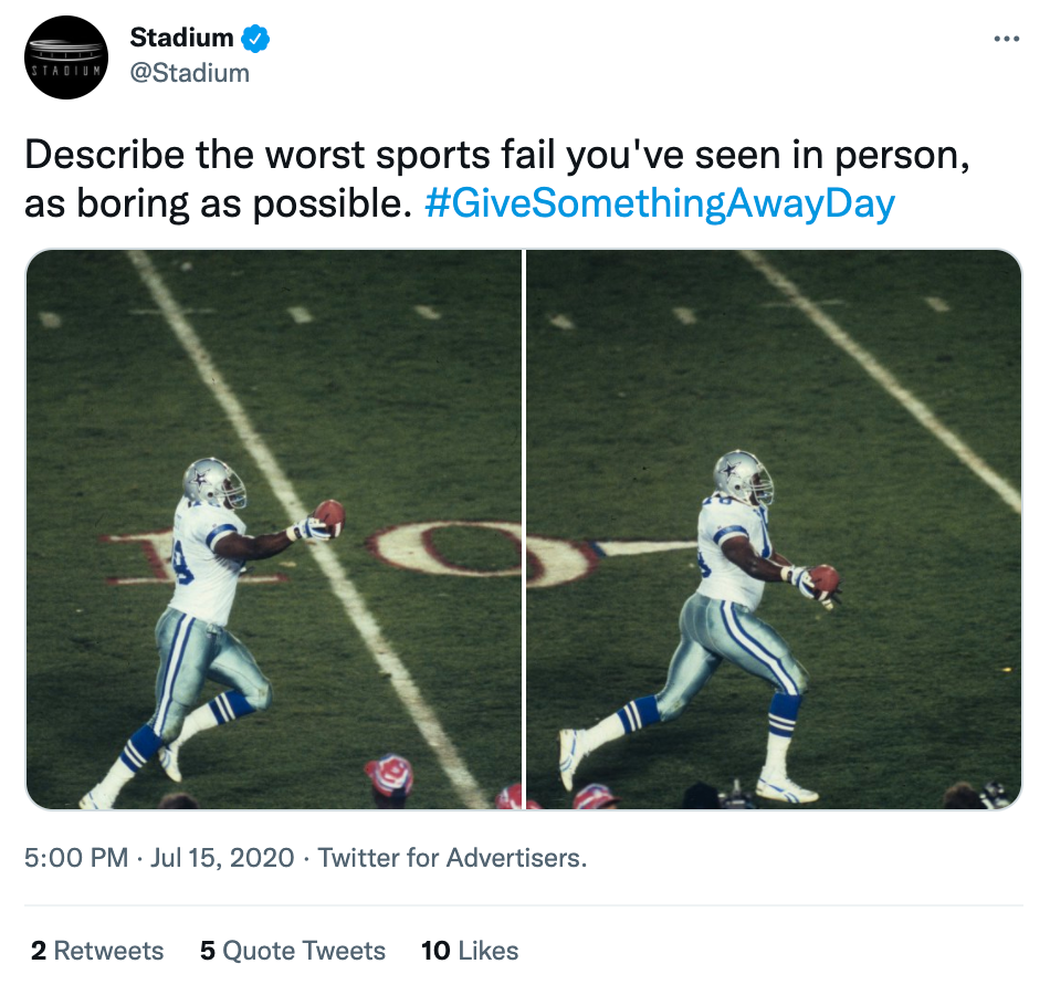 Stadium Give Something Away Day Social Media Holiday Tweet