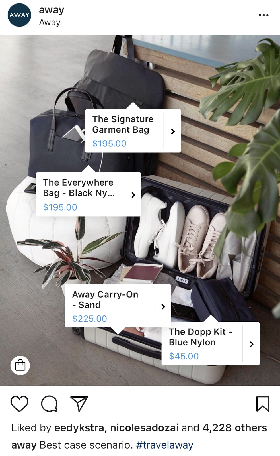 Shoppable instagram ad Away