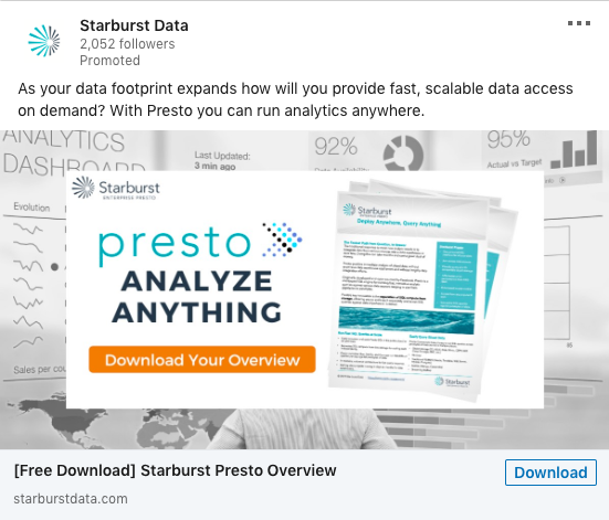 Starburst Data paid ads example