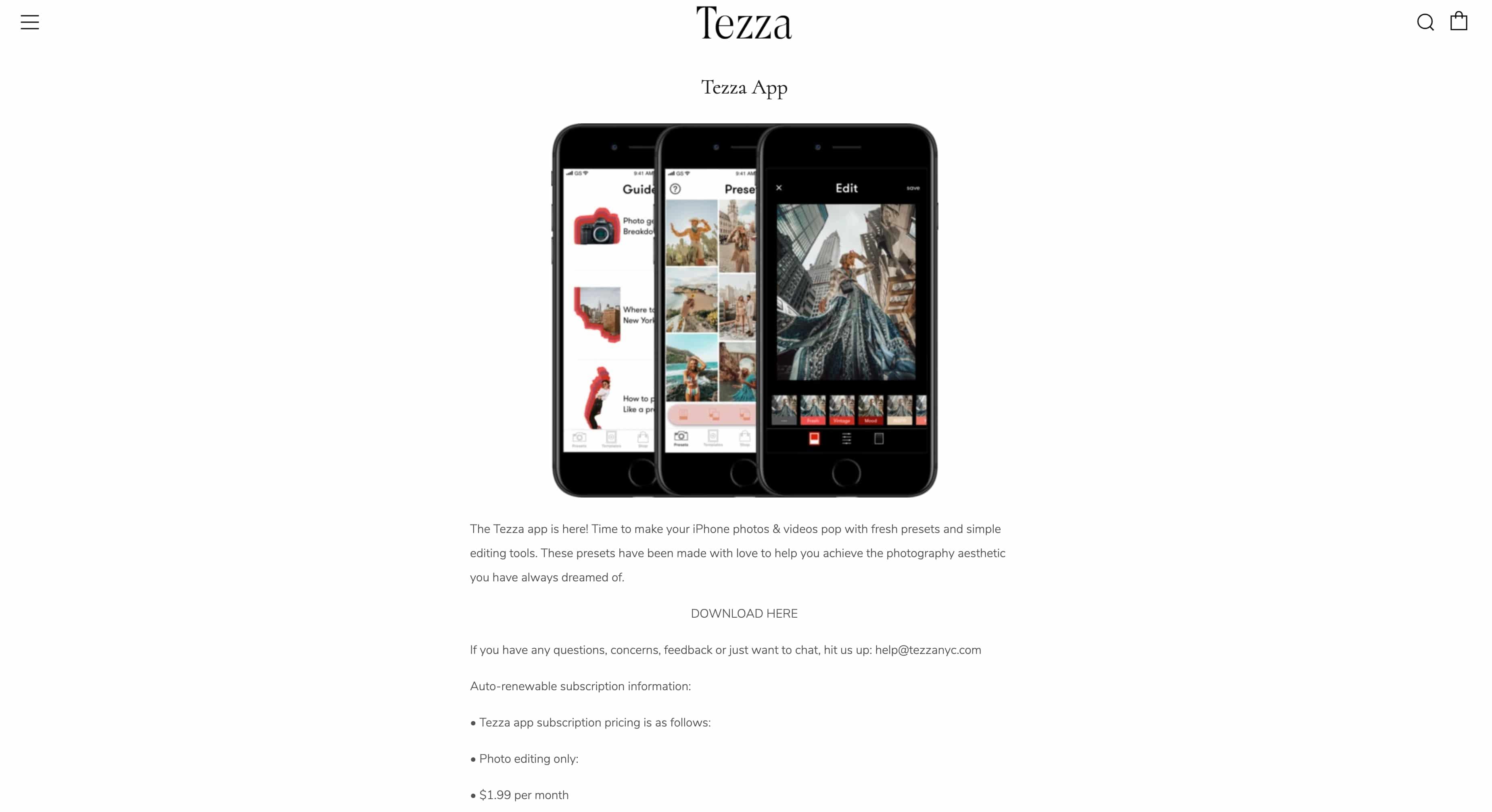 Aplicación Tezza: captura de pantalla del sitio web