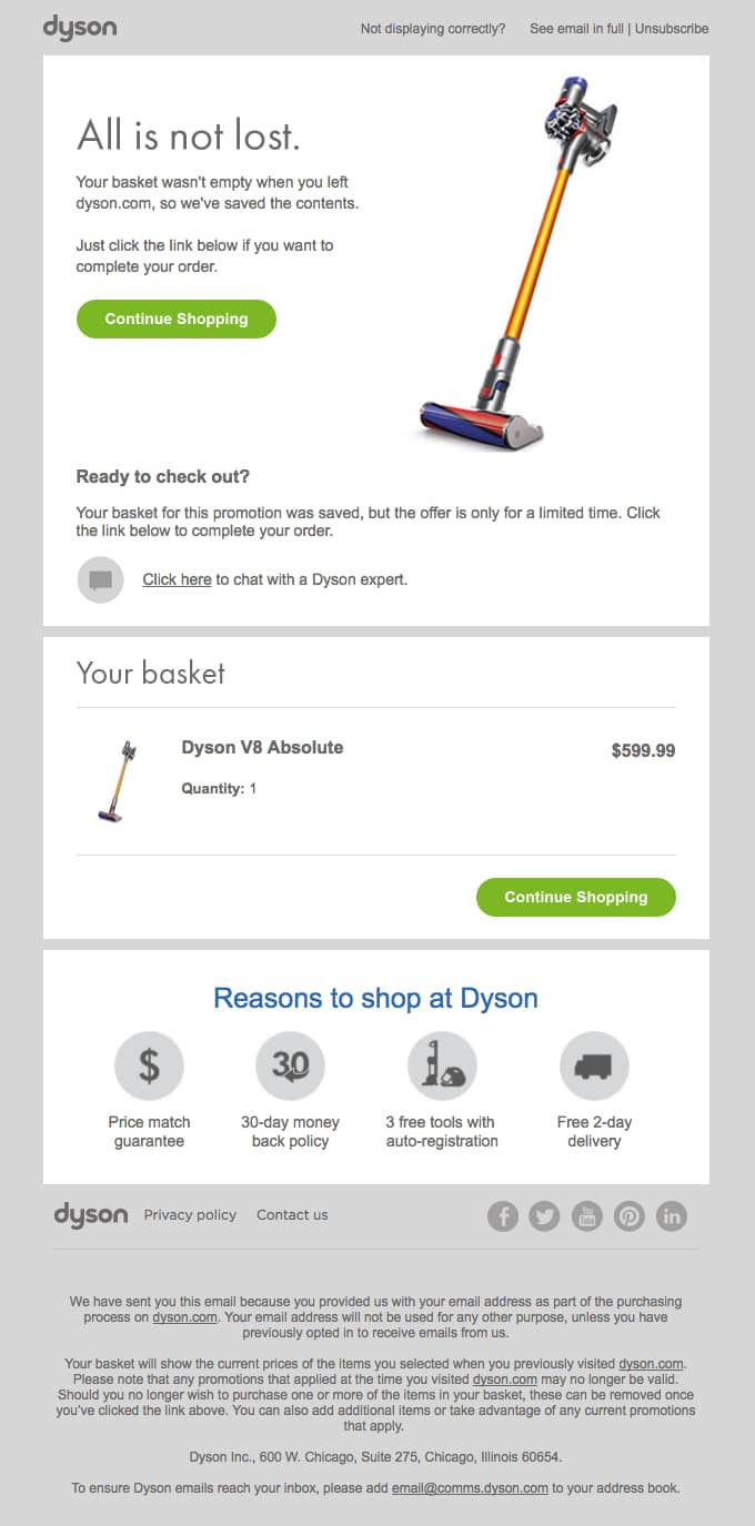 Dyson superb abandoned cart email example.