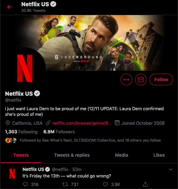 netflix's twitter page