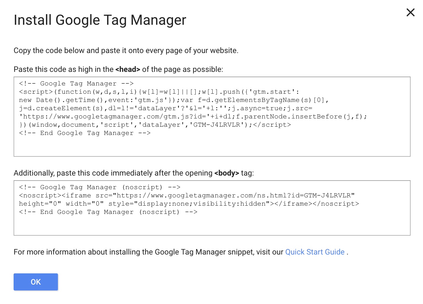 Google Tag code instructions and codes