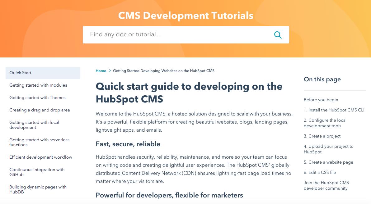 Screenshot of CMS Development Tutorials homepage