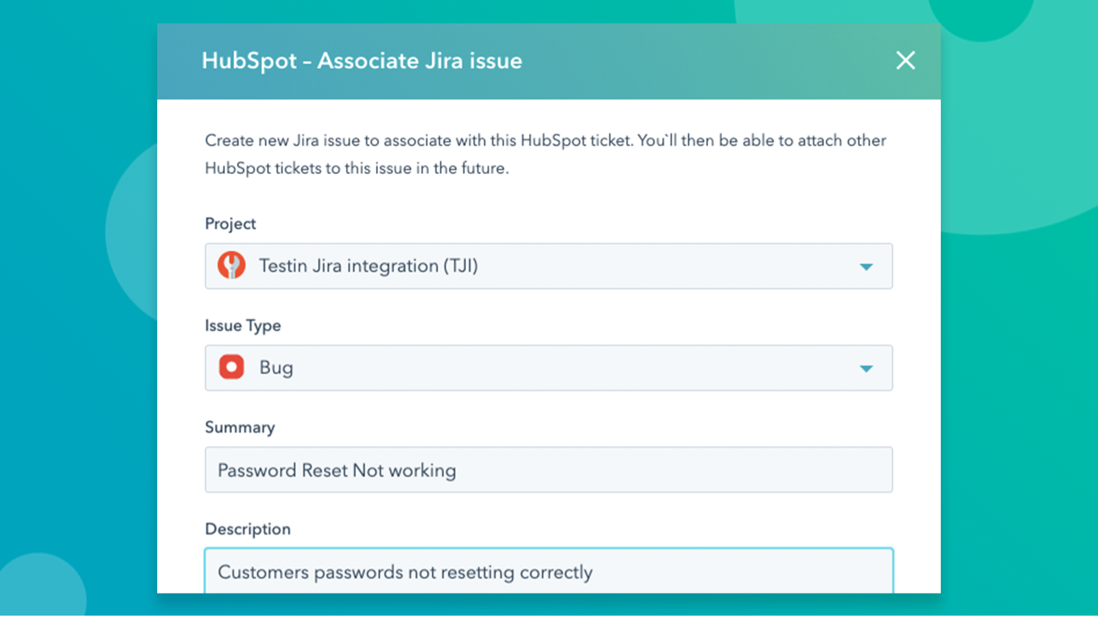 Screenshot showing the creation of a new Jira issue and associating it with a HubSpot ticket
