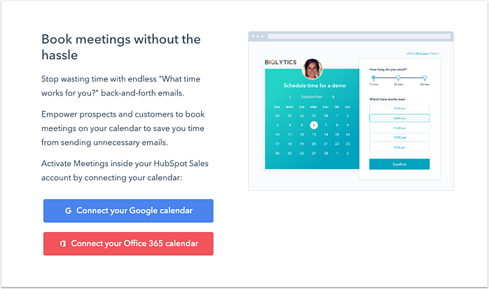 "Screenshot reading ""Book meetings without the hassle"" and the option to connect the tool to Google or Office 365 calendars"