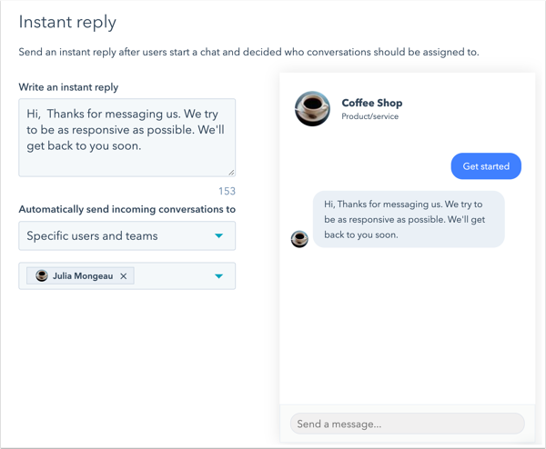 Screenshot showing instant-reply options