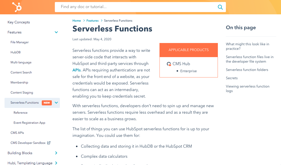 Screenshot of the Serverless Functions CMS Reference Docs page.