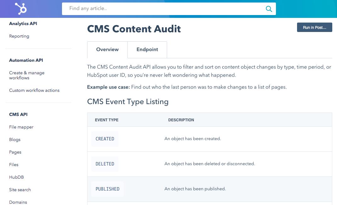 Screenshot of the new Activity Logs API.