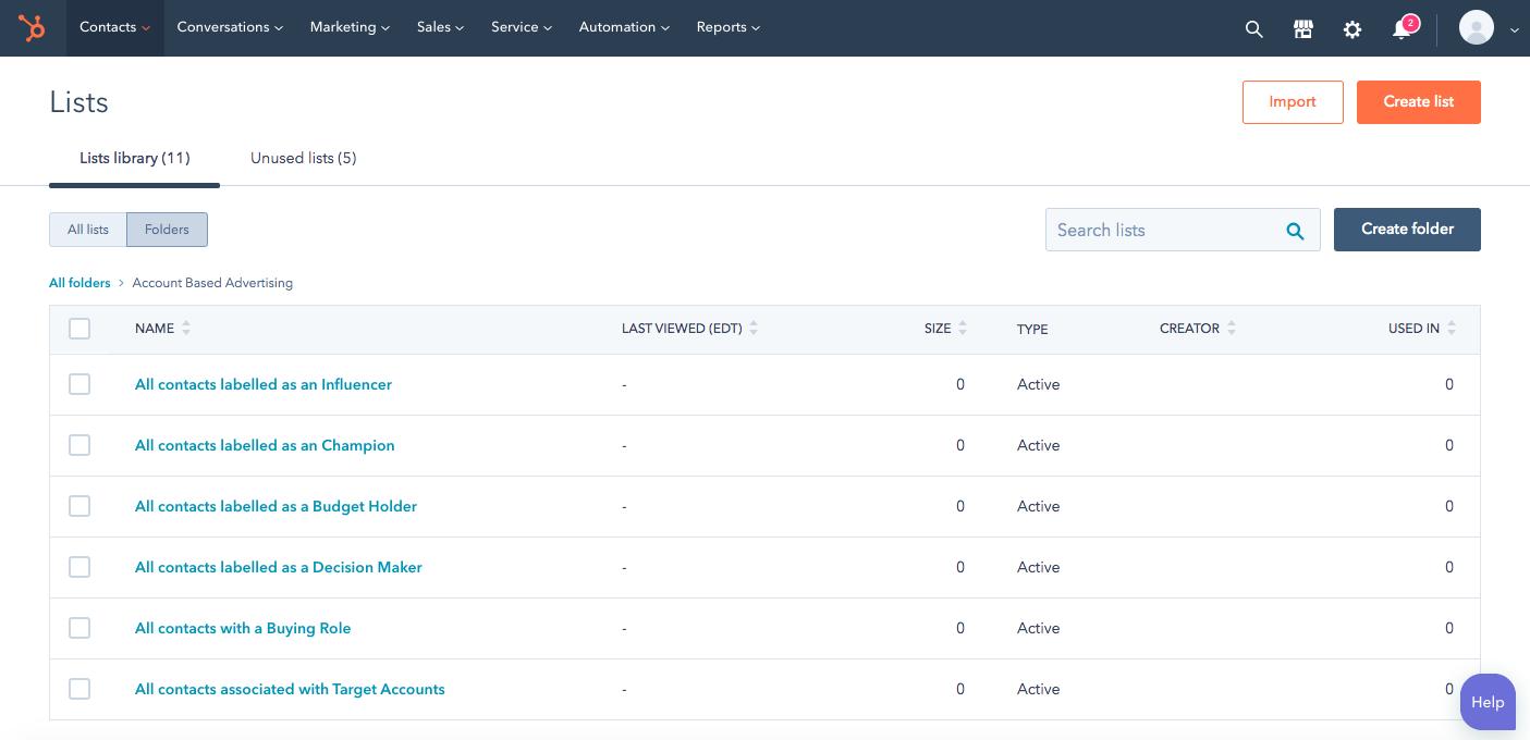 Screenshot of lists within HubSpot.