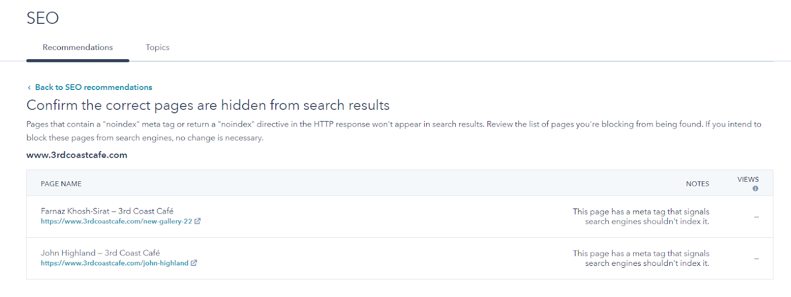 Screenshot of the SEO audit tool in HubSpot