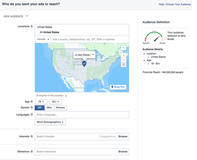 Targeting audiences with ads on Facebook