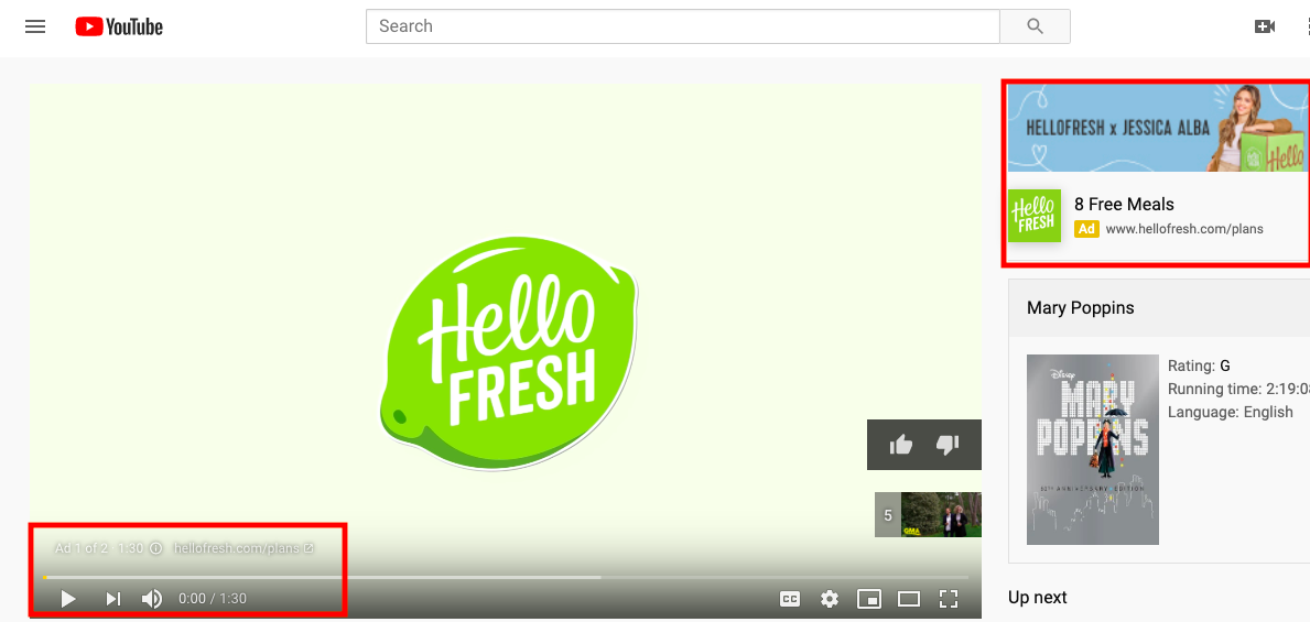Hello Fresh video ads on a YouTube video. The ads show up pre-roll and on the YouTube sidebar