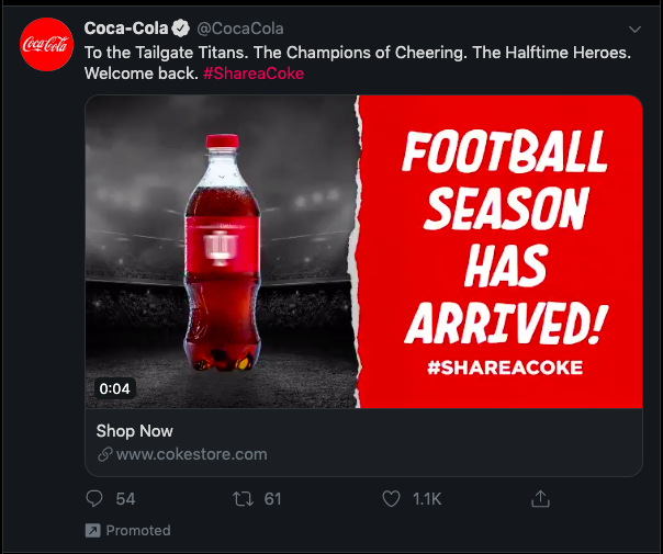 """Cocoa Cola social ad on a Twitter timeline, with the text """"Football season has arrived!"""""""