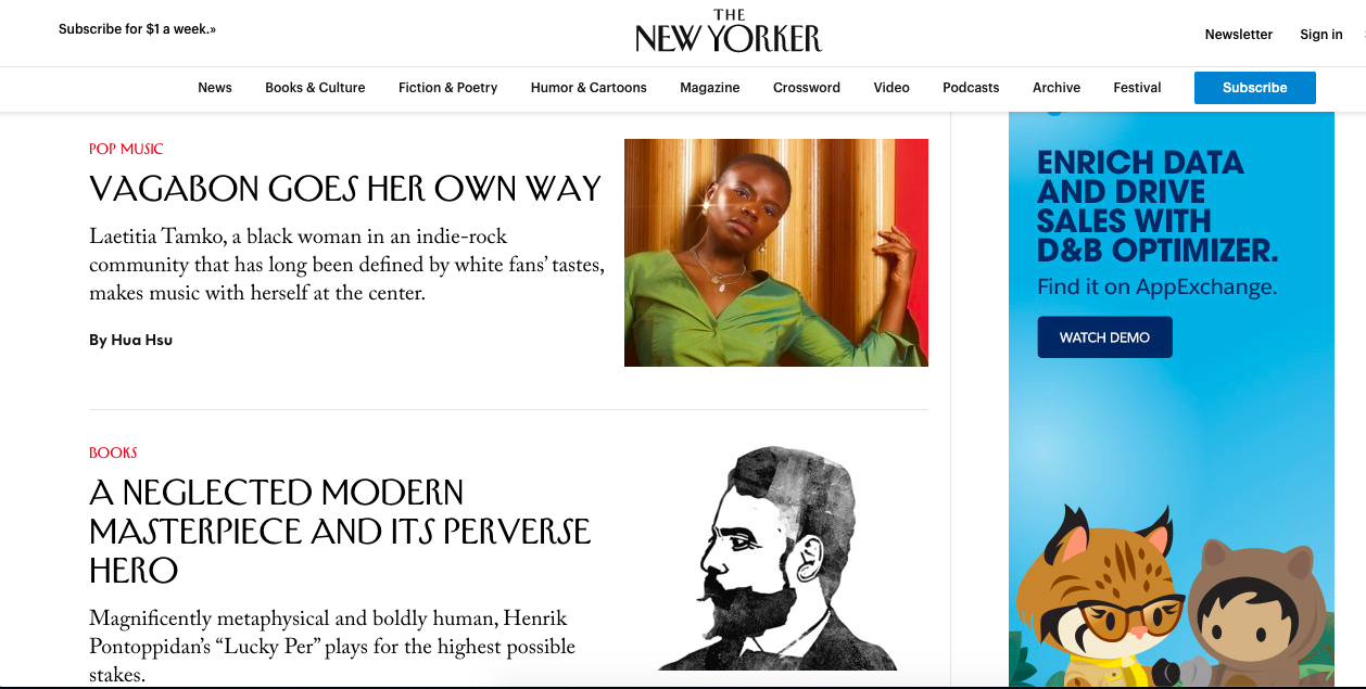 The New Yorker website with a display ad on the right-side column for Salesforce's app exchange